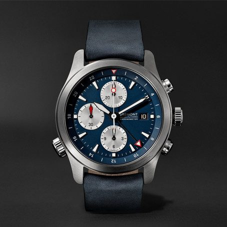 Mens Bremont Alt1-zt Automatic Chronograph 43mm Stainless Steel And Leather Watch in Blue