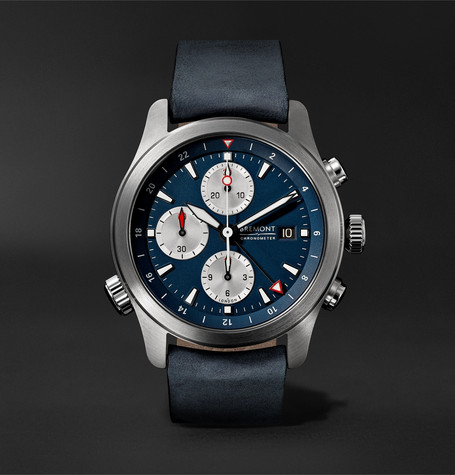 Bremont - Alt1-zt Automatic Chronograph 43mm Stainless Steel And Leather Watch - Blue