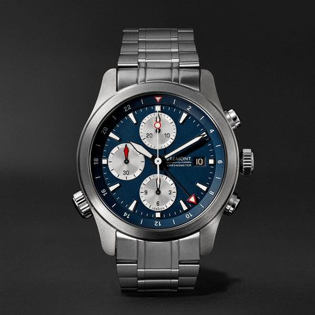 mens Bremont alt1-zt limited edition automatic chronograph 43mm stainless steel watch in blue