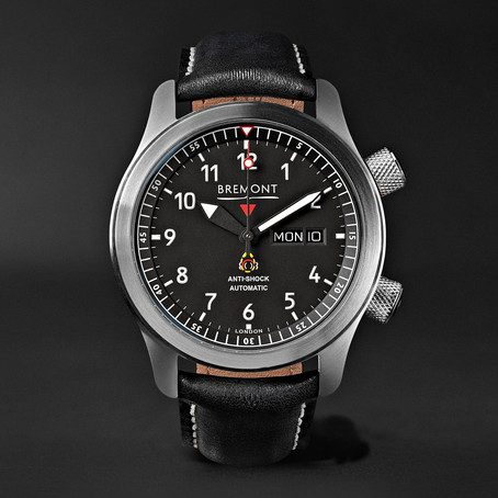 Mens Bremont Mbii/or Automatic 45mm Stainless Steel And Leather Watch in Black