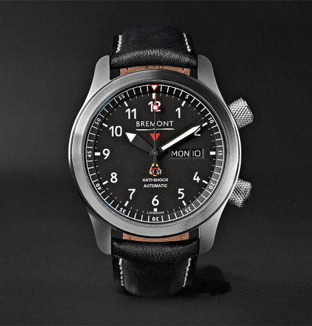 Bremont - Mbii/or Automatic 45mm Stainless Steel And Leather Watch - Black