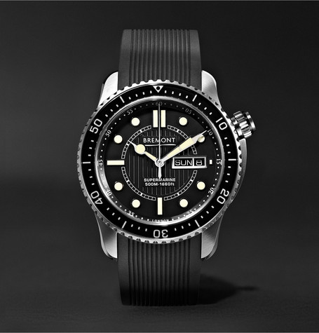Bremont - S500 Supermarine Automatic 43mm Stainless Steel And Rubber Watch - Black