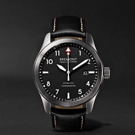 Mens Bremont Solo/wh Automatic 43mm Stainless Steel And Leather Watch in Black