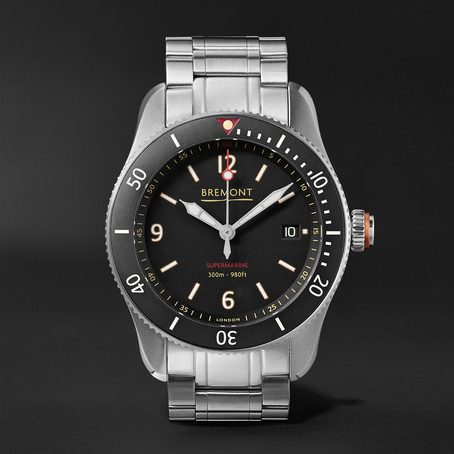 Mens Bremont Supermarine Type 300 40mm Stainless Steel Watch in Black