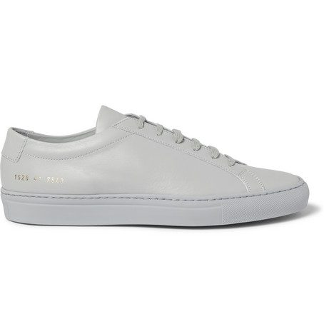 Mens Common Projects Original Achilles Leather Sneakers in Light Grey
