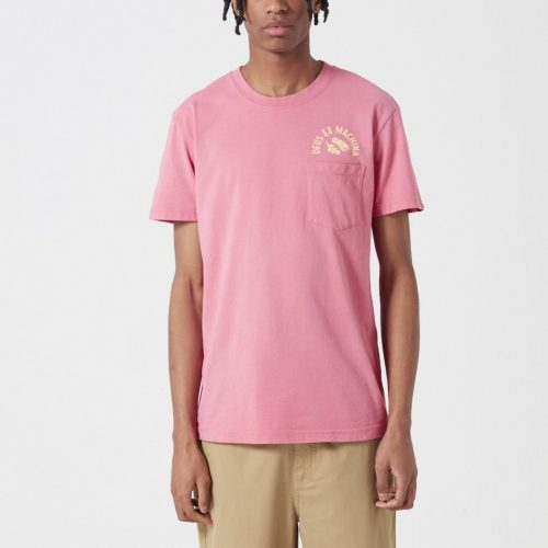 Mens Deus Ex Machina Sunbleached Responsibilities T-shirt in Rose Red & Yellow
