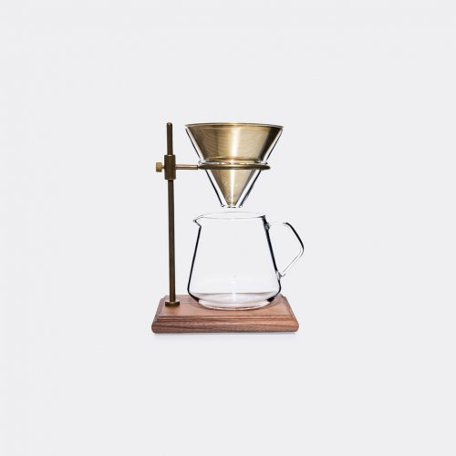 Kinto Tea & Coffee - Brewer stand in Brass, clear Heat-resistant glass, brass, s