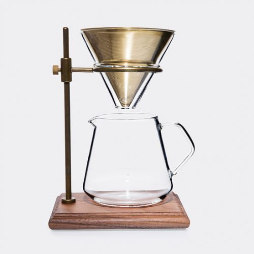 Mens Kinto Slow Coffee Brewer Stand Set in Brass & Clear Heat-resistant Glass