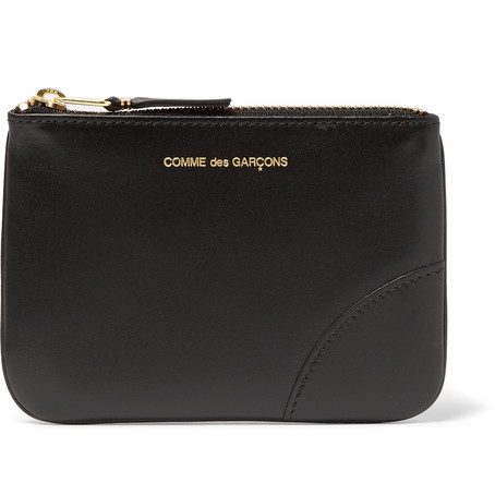 Mens Comme Des Garcons Leather Coin Wallet in Black