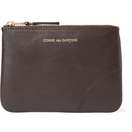 Mens Comme Des Garcons Leather Coin Wallet in Chocolate