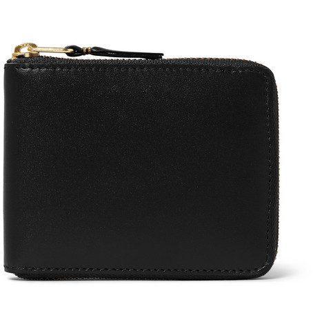 Mens Comme Des Garcons Zip-around Leather Wallet in Black
