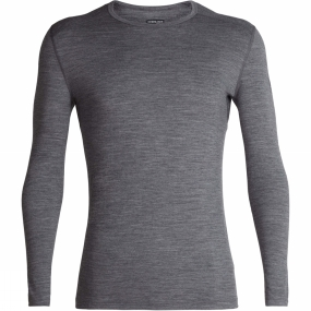 Icebreaker Mens 200 Oasis Long Sleeve Crew Top Gritstone Heather