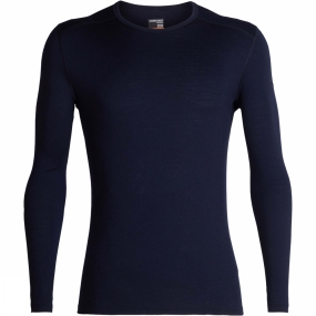 Icebreaker Mens 200 Oasis Long Sleeve Crew Top Midnight Navy