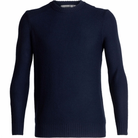 Icebreaker Mens Waypoint Crew Sweater Midnight Navy