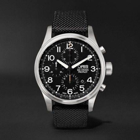 Mens Oris Big Crown Propilot Chronograph 44mm Stainless Steel And Nylon Watch in Black