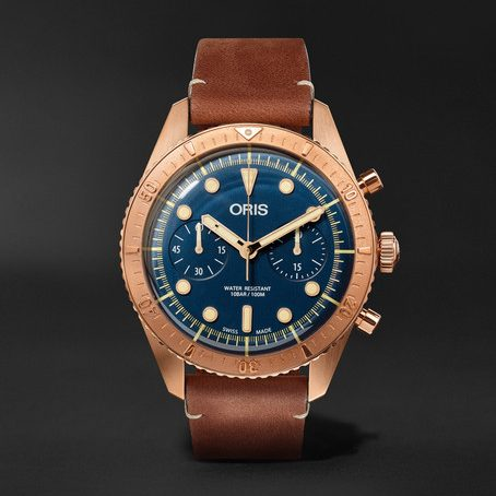 Mens Oris Carl Brashear Chronograph 43mm Burnished Bronze And Leather Watch in Blue