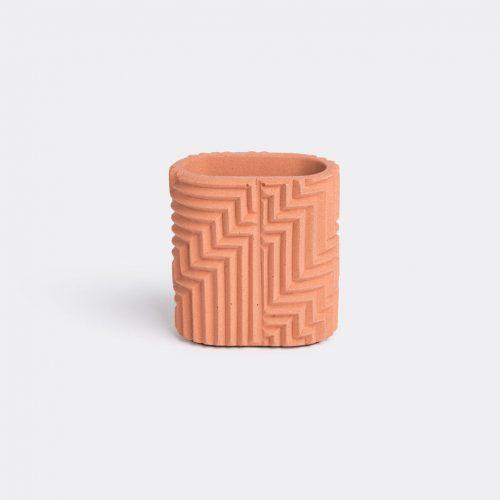 Phil Cuttance Organising - 'Herringbone' pen pot, brick red in Brick red Material