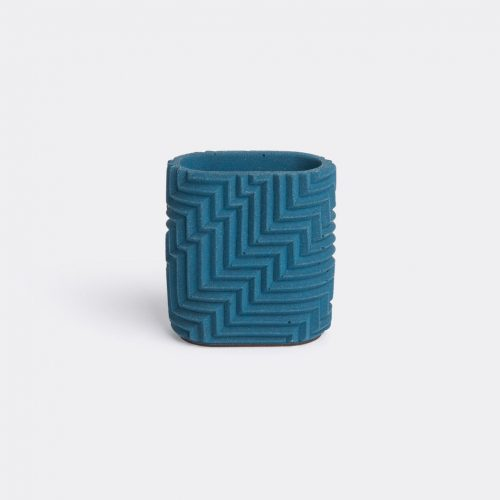 Phil Cuttance Organising - 'Herringbone' pen pot, dark blue in Dark blue Material