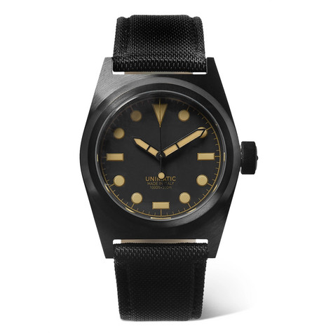 Unimatic - U2-cn Dlc-coated Stainless Steel And Cordura Watch - Black