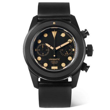 Mens Unimatic U3-an Dlc-coated Brushed Stainless Steel And Horween Cordovan Shell Leather Watch in Black
