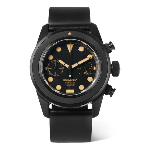 Unimatic - U3-an Dlc-coated Brushed Stainless Steel And Horween Cordovan Shell Leather Watch - Black