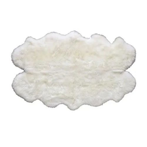 Sheepskin rug in ivory white