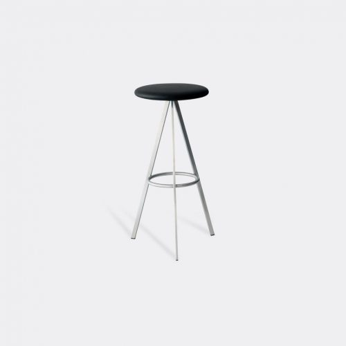 Case Furniture Furniture - 'Tri-Space' bar stool in Black Stainless Steel / Leather