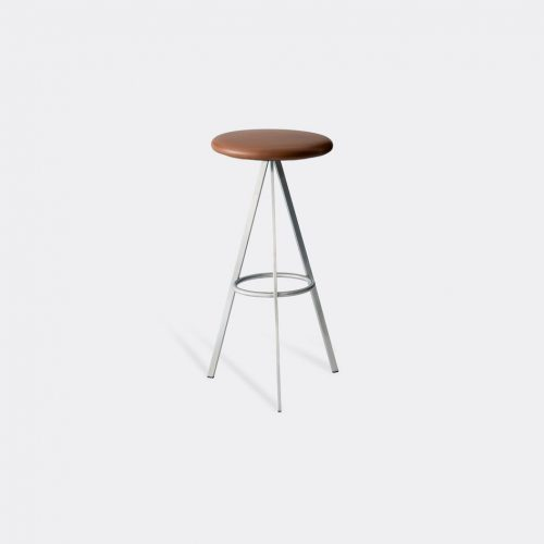 Case Furniture Furniture - 'Tri-Space' bar stool in Tan Stainless Steel / Leather