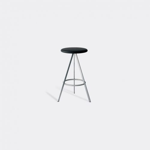 Case Furniture Furniture - 'Tri-Space' counter stool in Black Stainless Steel / Leather