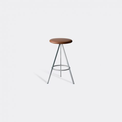 Case Furniture Furniture - 'Tri-Space' counter stool in Tan Stainless Steel / Leather