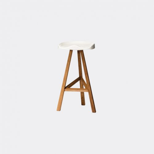 Established & Sons Furniture - 'Heidi' high stool, large in White Seat is heat-formed acrylic, p