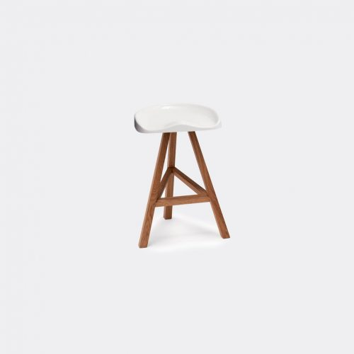 Established & Sons Furniture - 'Heidi' high stool, small in White Seat is heat-formed acrylic, p