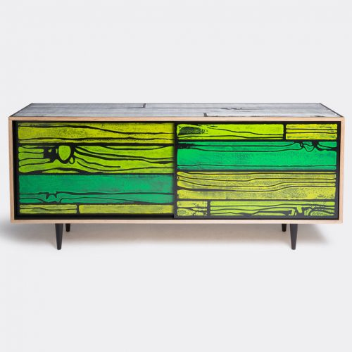 Established & Sons Furniture - 'Wrongwoods' low cabinet in Green Plywood, timer, paint, clear l