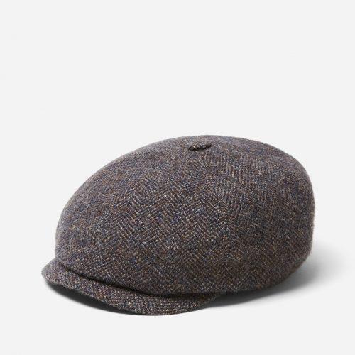 Stetson Hatteras Herringbone Newsboy Cap (Wool/Alpaca) - Grey/Blue