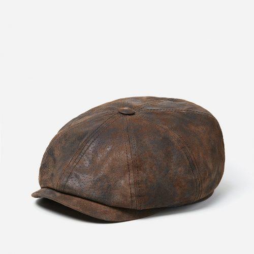 Stetson Hatteras Newsboy Cap (Pigskin) - Dark Brown