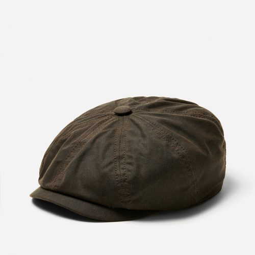 Stetson Hatteras Newsboy Cap (Waxed Cotton) - Dark Brown