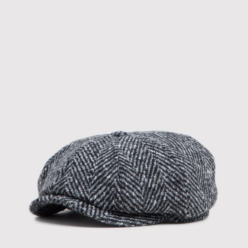 Stetson Hatteras Newsboy Cap (Wool Herringbone) - Black/Grey