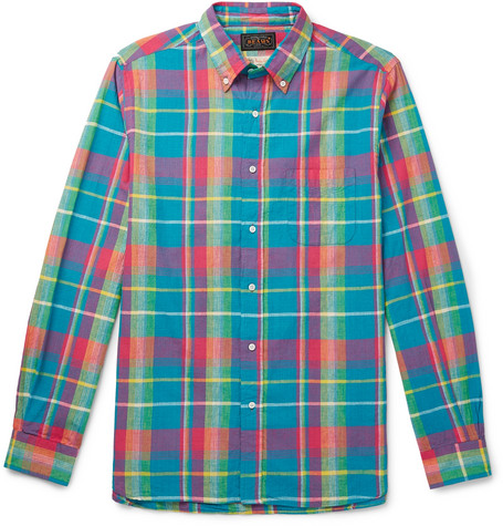 Beams Plus - Button-down Collar Checked Cotton Shirt - Blue