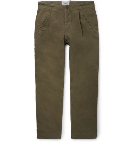 Folk - Assembly Tapered Pleated Cotton-canvas Trousers - Green