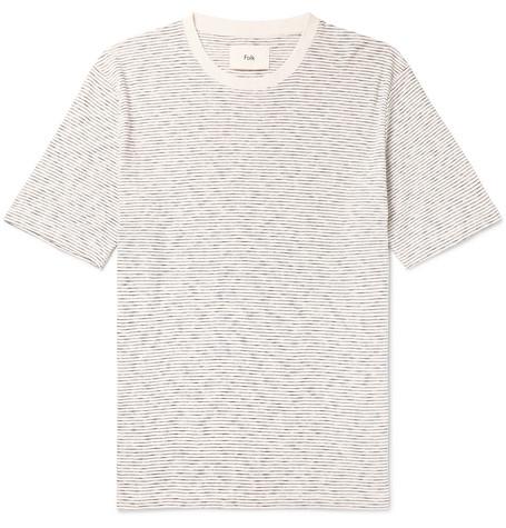 Folk - Striped Cotton-jersey T-shirt - Ecru