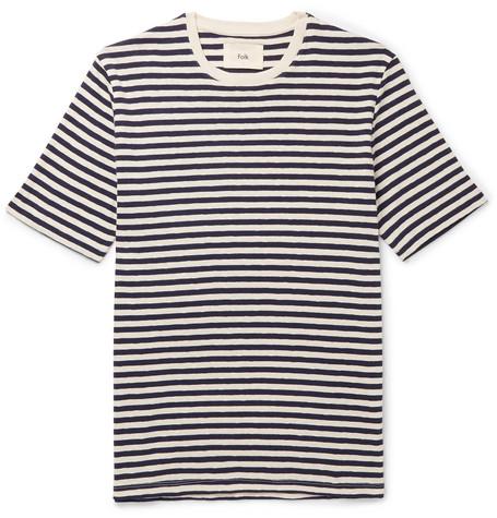 Folk - Striped Slub Cotton-jersey T-shirt - Blue