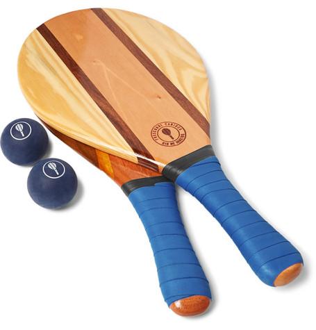Frescobol Carioca - Trancoso Wooden Beach Bat And Ball Set - Blue