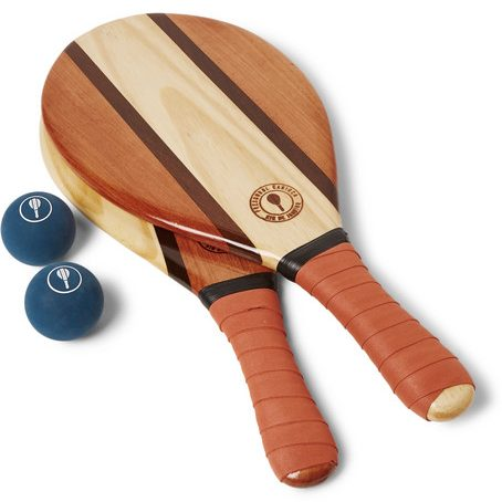Mens Frescobol Carioca Trancoso Wooden Beach Bat And Ball Set in Terracotta