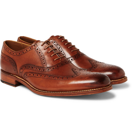 Grenson - Dylan Burnished-leather Wingtip Brogues - Tan
