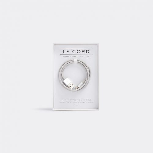 Le Cord Tech & Tools - Iphone cable in Solid silver 75% nylon, 25% metal