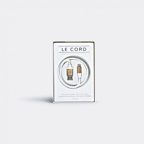 Le Cord Tech & Tools - Iphone cable in White, Light wood 80% leather, 20% wood