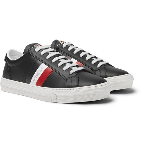 Moncler - New Monaco Striped Leather Sneakers - Black