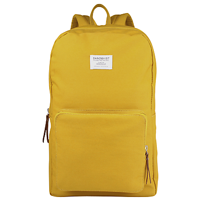 Mens Sandqvist Kim Ground Organic Cotton Backpack in Yellow