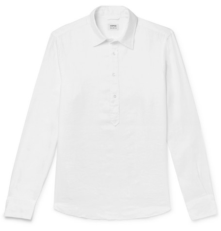 Aspesi - Linen Half-placket Shirt - White