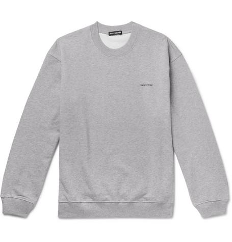 Balenciaga - Mélange Loopback Cotton-jersey Sweatshirt - Gray